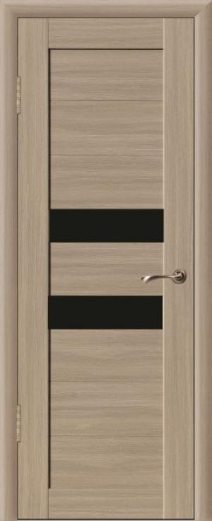 Дверь эко-шпон Квадро 2Б Черное стекло