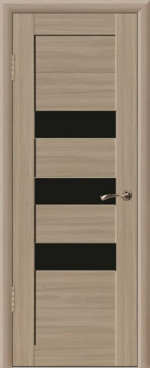 Дверь эко-шпон Квадро 3С Черное стекло