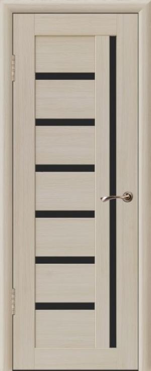 Дверь эко-шпон Квадро 7 Черное стекло