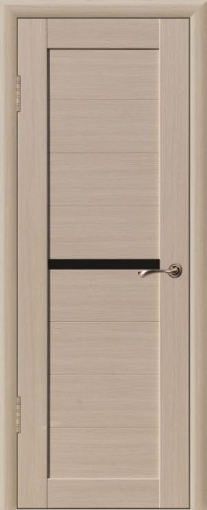 Дверь эко-шпон Квадро 1 Черное стекло