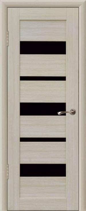 Дверь эко-шпон Квадро 5/1 Черное стекло