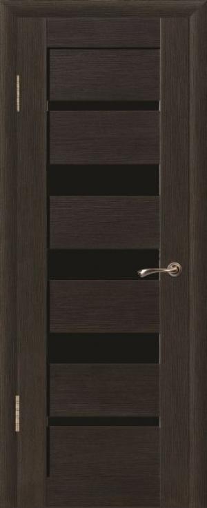 Дверь эко-шпон Квадро 5 Черное стекло