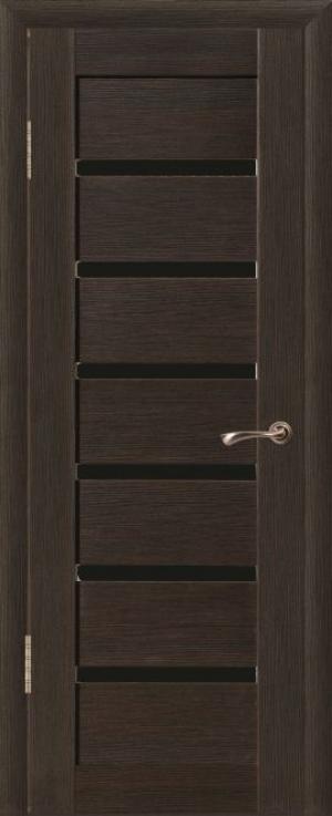Дверь эко-шпон Квадро 6 Черное стекло